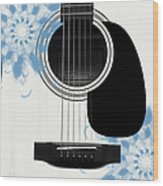 Floral Abstract Guitar 25 Wood Print