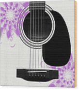 Floral Abstract Guitar 26 Wood Print