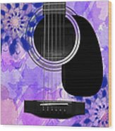 Floral Abstract Guitar 27 Wood Print