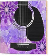 Floral Abstract Guitar 29 Wood Print