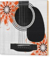 Floral Abstract Guitar 32 Wood Print