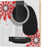 Floral Abstract Guitar 33 Wood Print