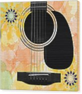 Floral Abstract Guitar 37 Wood Print