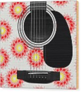 Floral Abstract Guitar 8 Wood Print