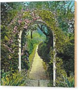 Floral Arch And Path Wood Print
