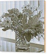 Floral Arrangement With Blinds Reflection Wood Print