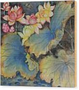 Floral Dragon Fly Wood Print