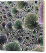 Floral Fractal Artwork Green Blue Pink Digital Leaves Wood Print