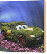 Floral Lightning Mcqueen Wood Print by Thomas Woolworth