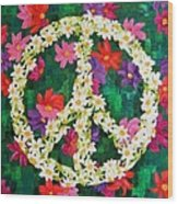 Floral Peace Pop Art Wood Print