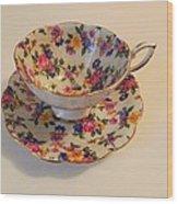 Floral Tea Cup Wood Print