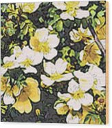 Floral Yellow Wood Print