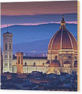 Florence Catherdral Duomo And City From Wood Print
