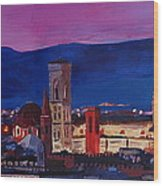 Florence Skyline Italy With Santa Maria Del Fiore Wood Print