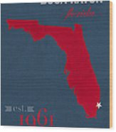 Florida Atlantic University Owls Boca Raton College Town State Map Poster Series No 037 Wood Print