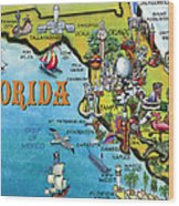 Florida Cartoon Map Wood Print