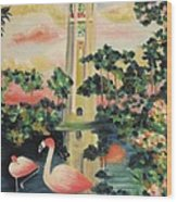 Florida Flamingo's Wood Print
