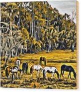 Florida Horses Two Wood Print