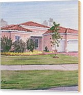 Florida House Watercolor Portrait Wood Print