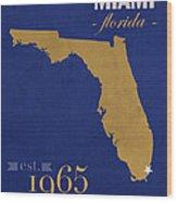 Florida International University Panthers Miami College Town State Map Poster Series No 038 Wood Print