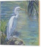 Florida Keys Egret Wood Print