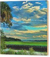 Florida Landscape With Palms Wood Print