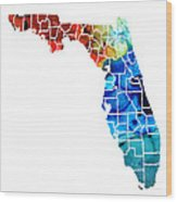 Florida - Map By Counties Sharon Cummings Art Wood Print