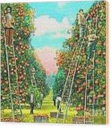 Florida Orange Pickers 1920 Wood Print by Annette Allman