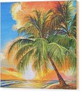 Florida Palm Sunset Wood Print