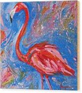 Florida Pink Flamingo - Modern Impressionist Art Wood Print