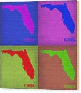 Florida Pop Art Map 1 Wood Print
