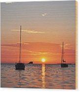 Florida Sailboat Sunset Wood Print