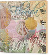Florida Seashells Collage Wood Print