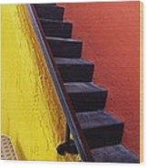 Florida Yellow And Orange Wall Stairs Wood Print