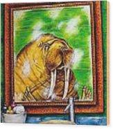 Flossing In The Bathroom Wood Print by Jay  Schmetz