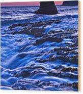 Flow - Dramatic Sunset View Of A Sea Stack In Davenport Beach Santa Cruz. Wood Print