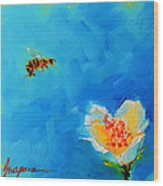Flower And A Bee Wood Print