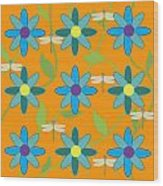 Flower And Dragonfly Design With Orange Background Wood Print