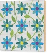 Flower And Dragonfly Design With White Background Wood Print