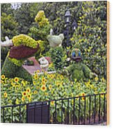Flower And Garden Signage Walt Disney World Wood Print