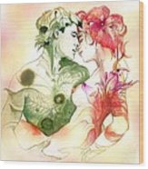 Flower And Leaf Wood Print