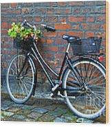 Flower Basket Bicycle Wood Print