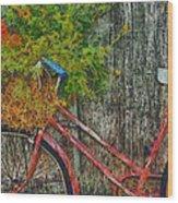 Flower Basket On A Bike Wood Print