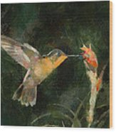 Flower Bird Wood Print