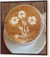 Flower Bouquet Latte Art Wood Print
