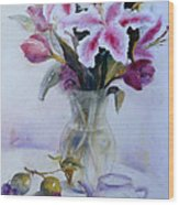 Flower Bouquet With Teapot And Fruit Wood Print