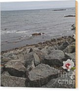 Flower By The Sea Wood Print