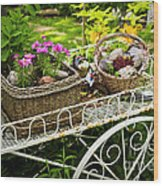 Flower Cart In Garden Wood Print