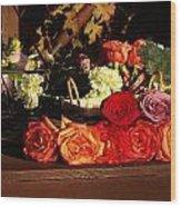 Flower Cart Wood Print