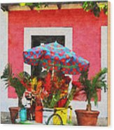 Flower Cart San Juan Puerto Rico Wood Print